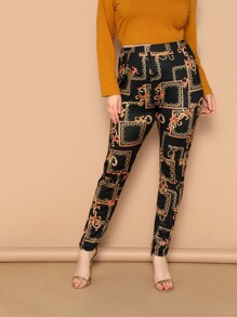 Plus High Waist Scarf Print Pants