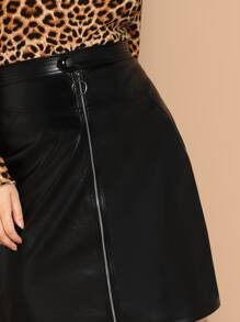 909232ca66 Plus O-ring Zip Front Leather Look Skirt | SHEIN UK
