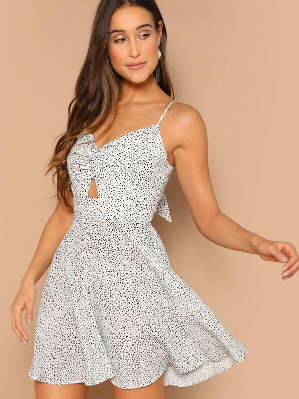 41c0c6aa7a Dalmatian Print Twist Peekaboo Cami Dress