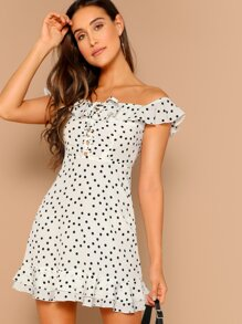 Flounce Bardot Lace Up Polka Dot Dress
