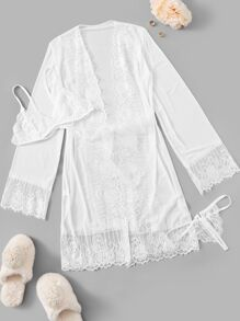 Contrast Lace Robe With Crotchless Lingerie Set & Belt 3pack