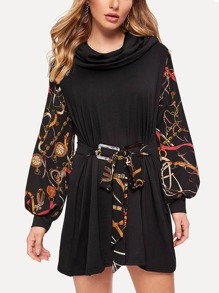Contrast Sleeve Chain Print Knot Dress