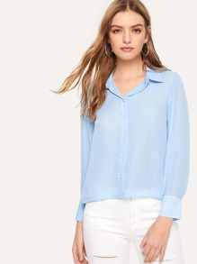 Button Through Solid Blouse