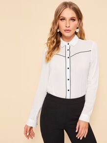 Contrast Trim Single-breasted Blouse