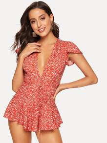 Calico Print Deep V-neck Romper
