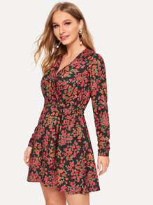 Ditsy Floral Button Up Surplice Tea Dress