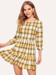 Tartan Plaid Ruffle Hem Dress