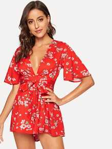 Floral Print Knot Front Romper