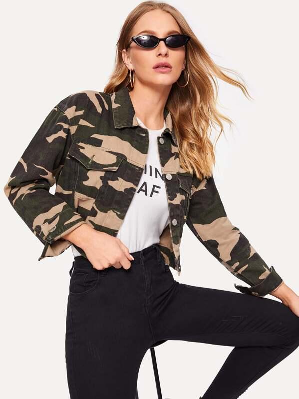 550c9224764ac Camo Pattern Crop Denim Jacket | SHEIN IN