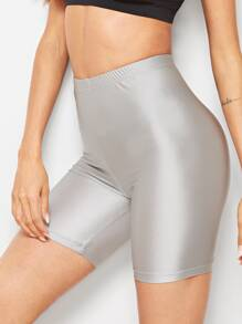 Solid Metallic Cycling Shorts