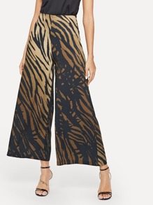 Tiger Print Wide Leg Pants