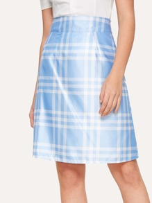 Zip Side Plaid Skirt