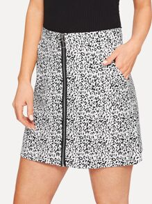 Leopard Print Zip Through Skirt