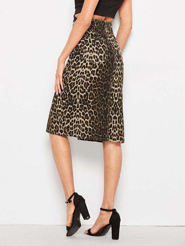 a44f5f8d1a32 Slit Hem Leopard Print Denim Skirt | SHEIN
