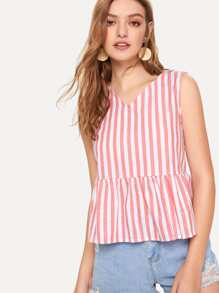 Ruffle Hem Striped Tank Top