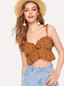 Frill Trim Embroidered Cami Top