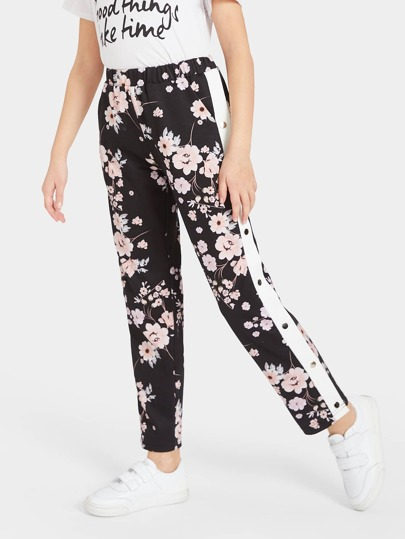 Girls Buttoned Contrast Side Floral Pants