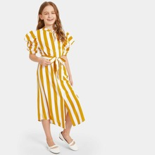 Girls Puff Sleeve Striped Belted Shirt Dress