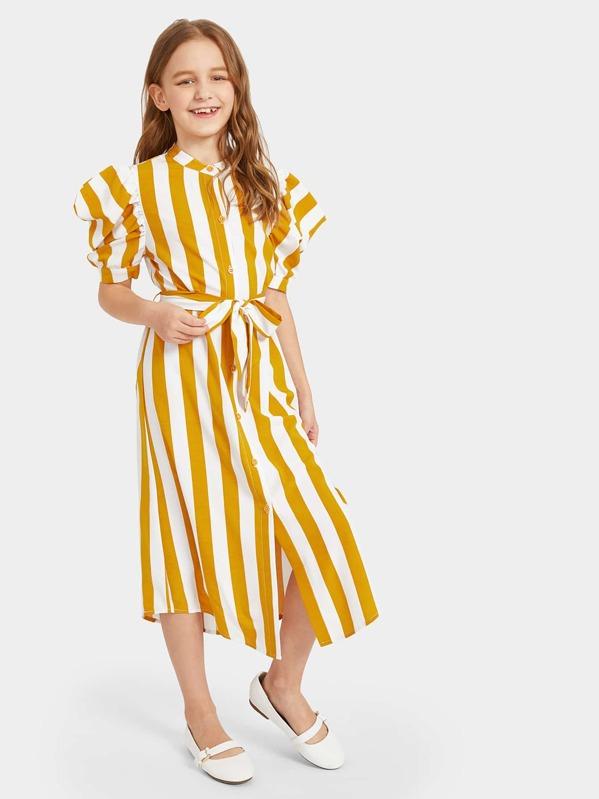 78c261da5e Cheap Girls Puff Sleeve Striped Belted Shirt Dress for sale Australia
