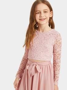 199a9366f1a Girls Zip Back Lace Crop Top & Waist Knot Skirt Set | SHEIN UK