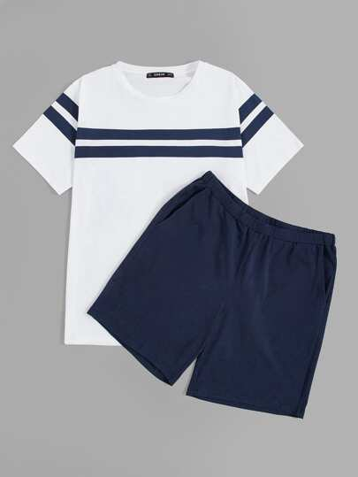 Men Tape Tee & Slant Pocket Shorts PJ Set