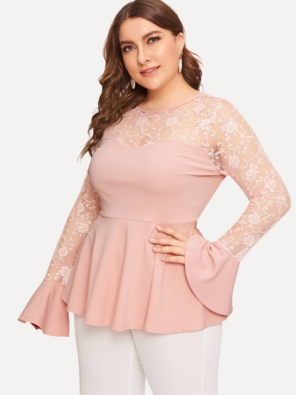 02021b13728f3c Plus Lace Sweetheart Bell Sleeve Peplum Top | SHEIN