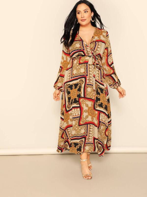 587a6a6783 Plus Balloon Sleeve Scarf Print Wrap Belted Dress | SHEIN