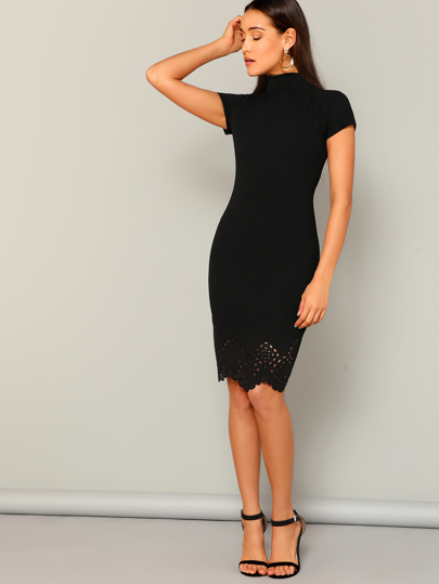 8c060a7e0e0 Laser Cut Scallop High Neck Dress