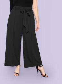 Plus Waist Belted Pocket Wide Leg Pants