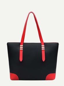 Two Tone PU Tote Bag