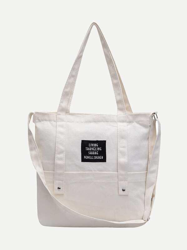 a202782985 Slogan Patch Canvas Tote Bag | SHEIN