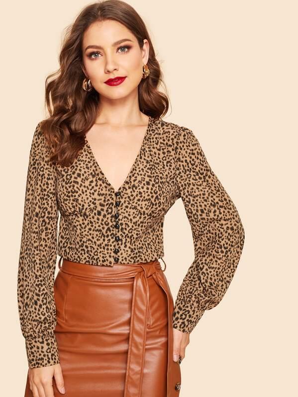 a09400926c Button Up Leopard Print Crop Shirt | SHEIN