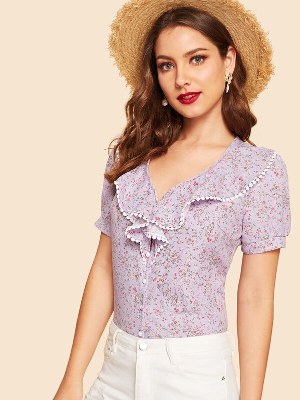 40s Lace Trim Botanical Print Ruffle Shirt by Shein