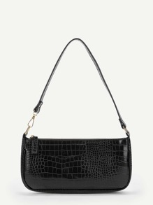 Crocodile Pattern Zipper Tote Bag