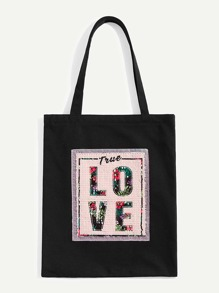 Sequin Decor Letter Print Tote Bag
