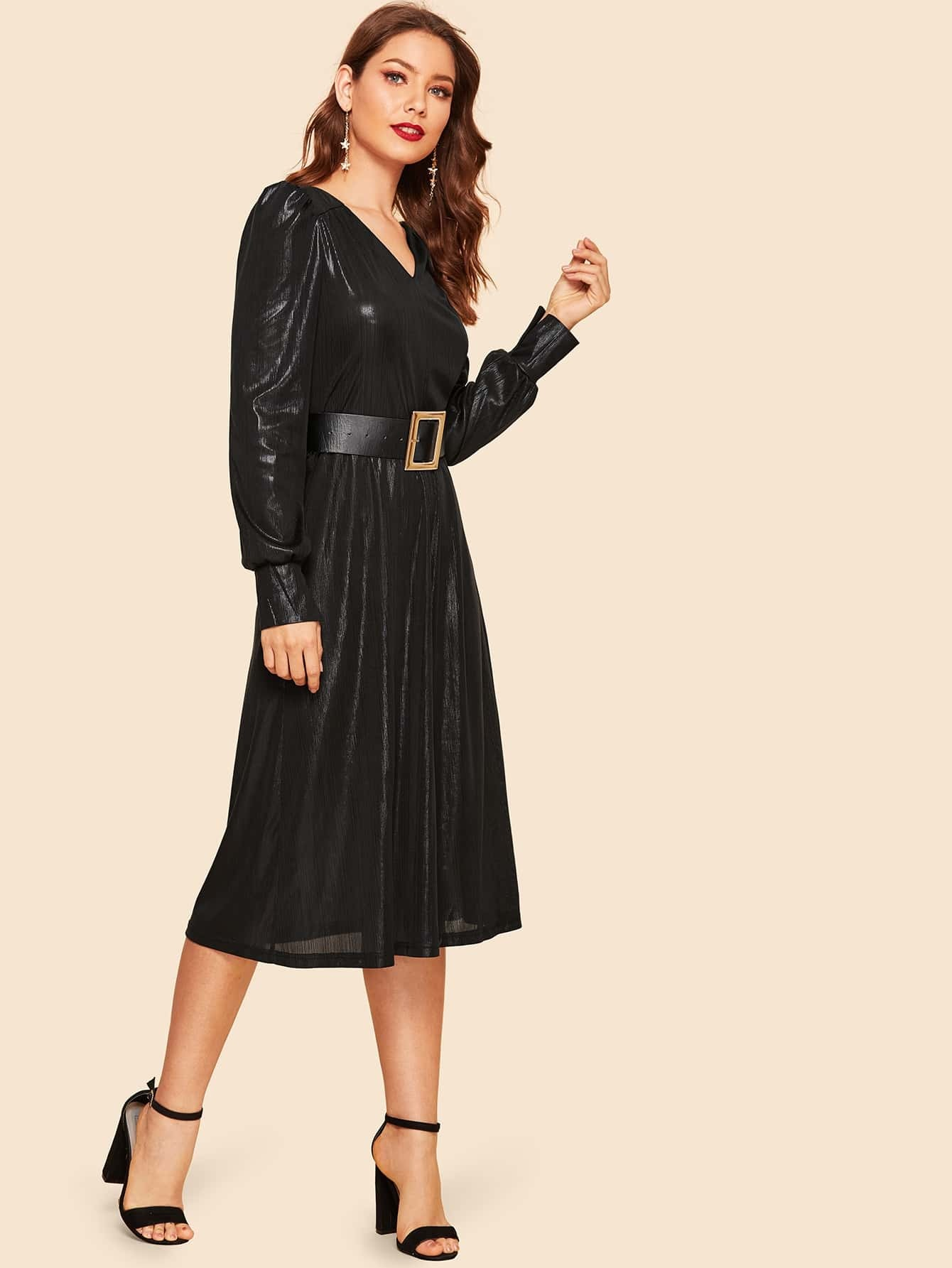 49458869f3ce Cheap Buckle Belt V Cut Metallic Midi Dress for sale Australia | SHEIN