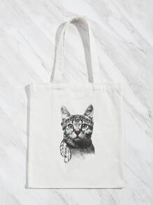 Cartoon Cat Print Tote Bag
