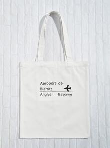 Letter And Plane Print Tote Bag