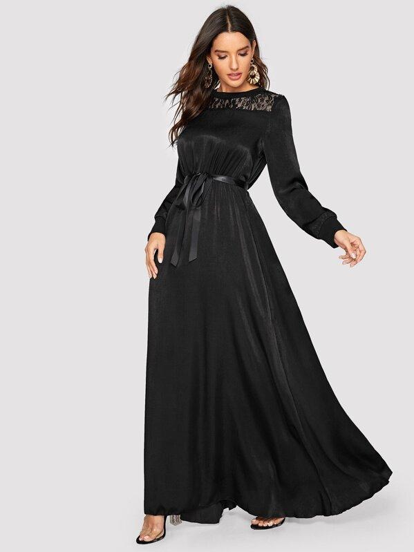 3590e379ff Lace Yoke Ribbon Tie Satin Maxi Dress   SHEIN
