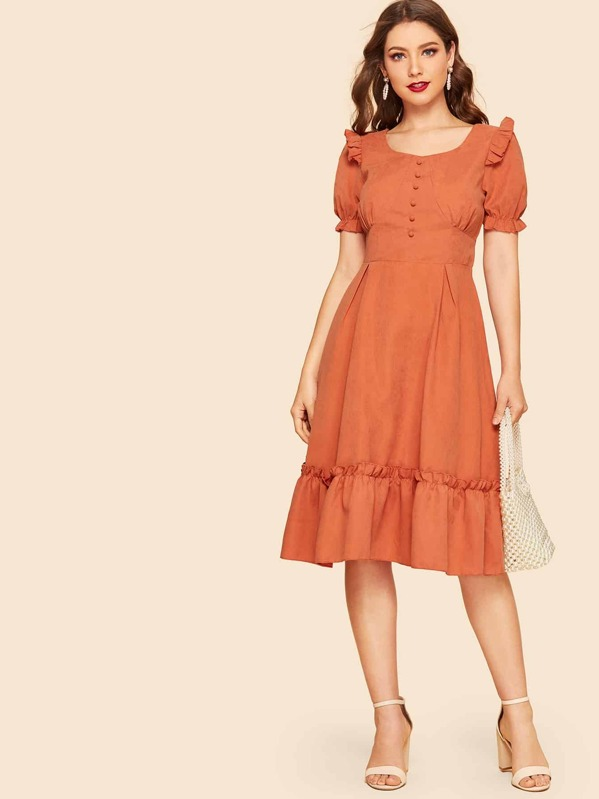 0c92b08a55fb 40s Frill Trim Button Front Fit   Flare Dress