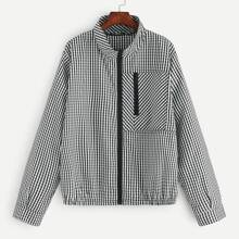 Plus Zip Front Gingham Jacket