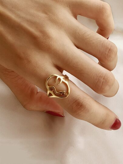 Hollow Face Decor Ring 1pc