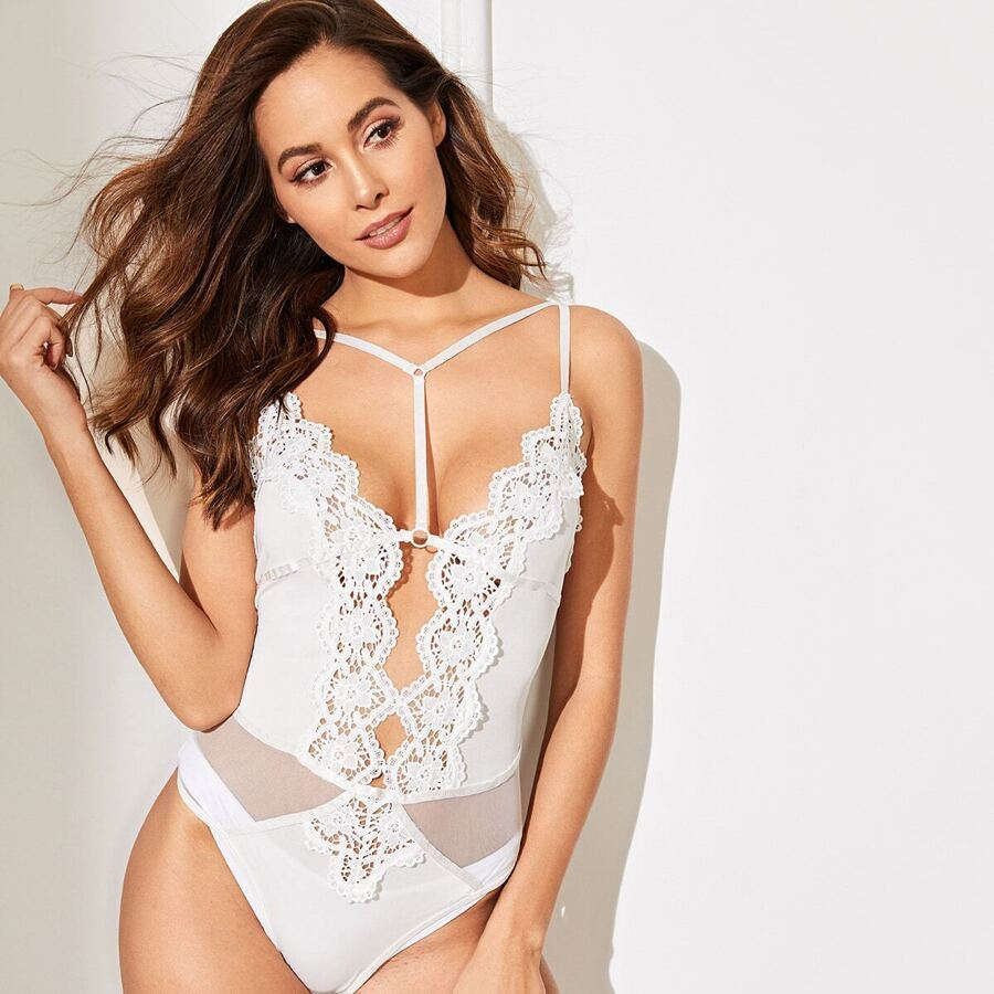 Harness Scalloped Trim Contrast Lace Teddy Bodysuit