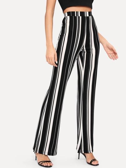 88115fc583 Pantalones anchos de rayas de cintura alta