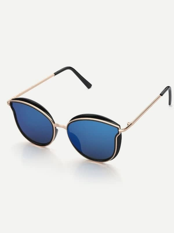 9f3bfed87c Men Cat Eye Metal Frame Mirror Lens Sunglasses | SHEIN IN