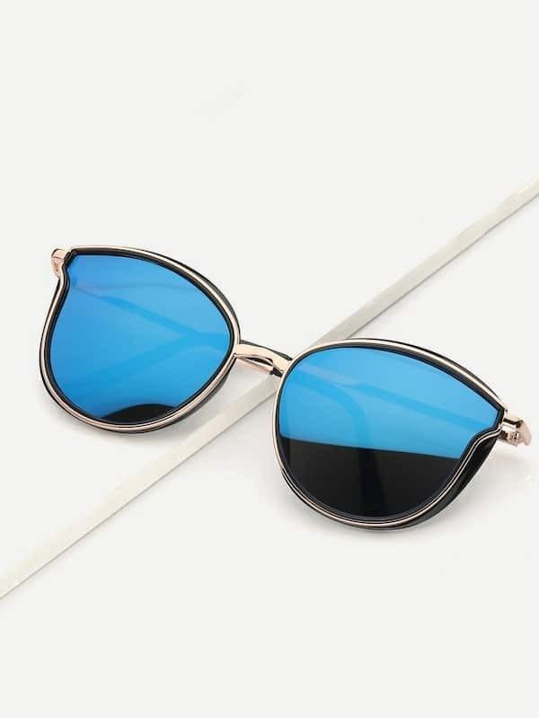 5b24c5784aad Guys Cat Eye Metal Frame Mirror Lens Sunglasses | ROMWE