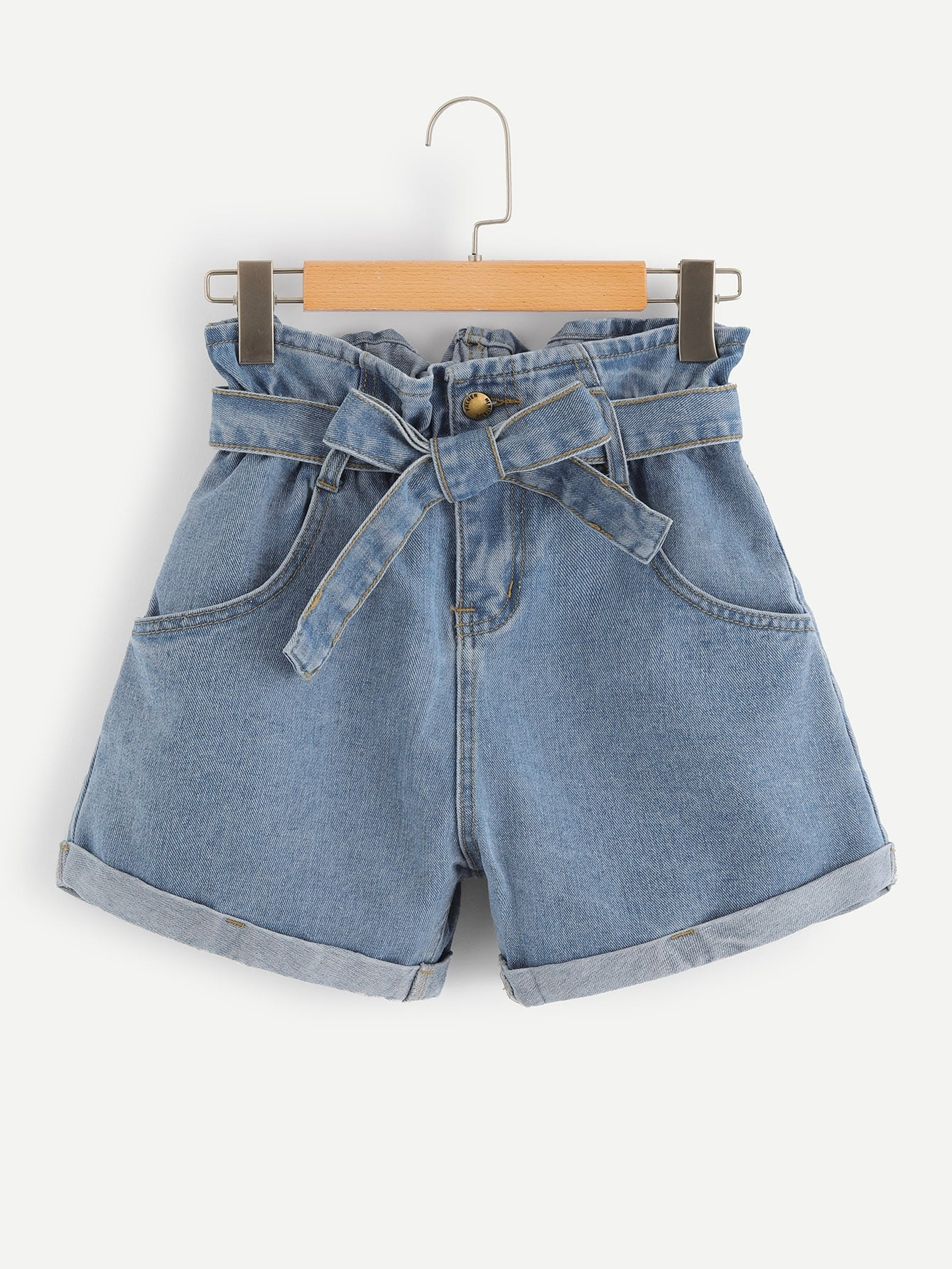 Self Belted Rolled Hem Denim Shorts by Romwe