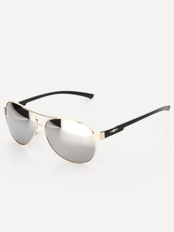 bc7387d1de Men Metal Frame Mirror Lens Sunglasses | SHEIN