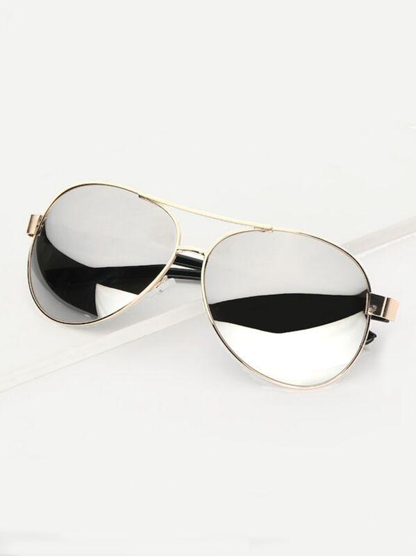 fdea26e482 Men Metal Frame Mirror Lens Sunglasses | SHEIN IN