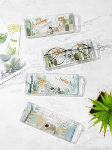 Random Slogan Print Glasses Case 1pc
